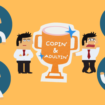 """Images of different emotions on a yellow background with a trophy titled """"Copin' & Adultin'"""""""