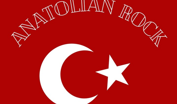 """A red background with symbols of a crescent moon and star, along with white lettering, spelling out """"Anatolian Rock"""""""