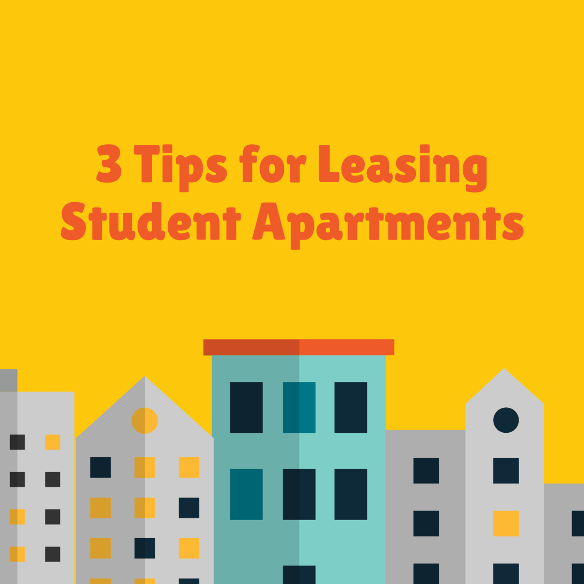 """Image of buildings captioned """"3 Tips for Leasing Student Apartments"""""""