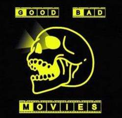 A photo of a skeleton head with light coming out of its eyes in yellow with GOOD BAD written at the top and MOVIES written at the bottom