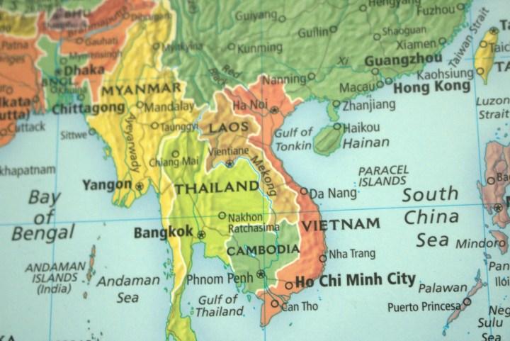 Close up photo of a globe on Vietnam.