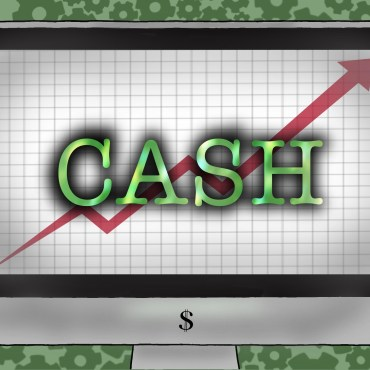 """A computer with a chart and the words """"Cash"""" in green on top of a green background with gears"""