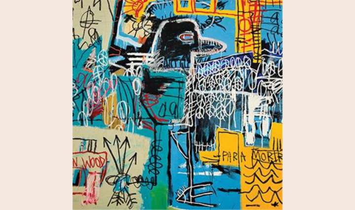 """""""The New Abnormal"""" album cover by Jean-Michel Basquiat, a painting of an abstract blue bird."""