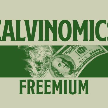 "Green background with the words ""Calvinomics Freemium"""
