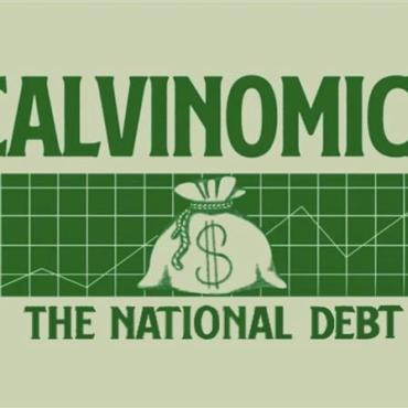 """green background with the words """"Calvinomics and The national Debt"""""""