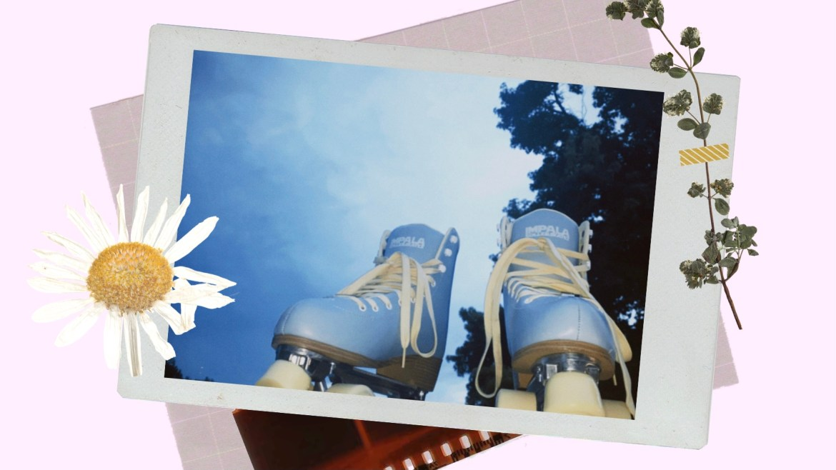: polaroid photo of light blue and yellow roller skates with the sky in the background
