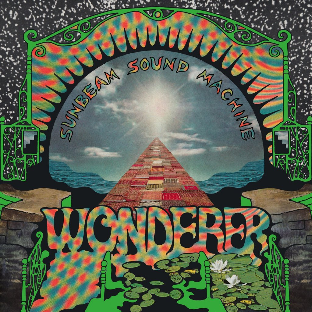 This is the album cover for Sunbeam Sound Machine's Wanderer album. The cover includes a pyramid and vivid colors.