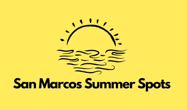 """Yellow background with a sun and the words """"San Marcos Summer Spots"""""""