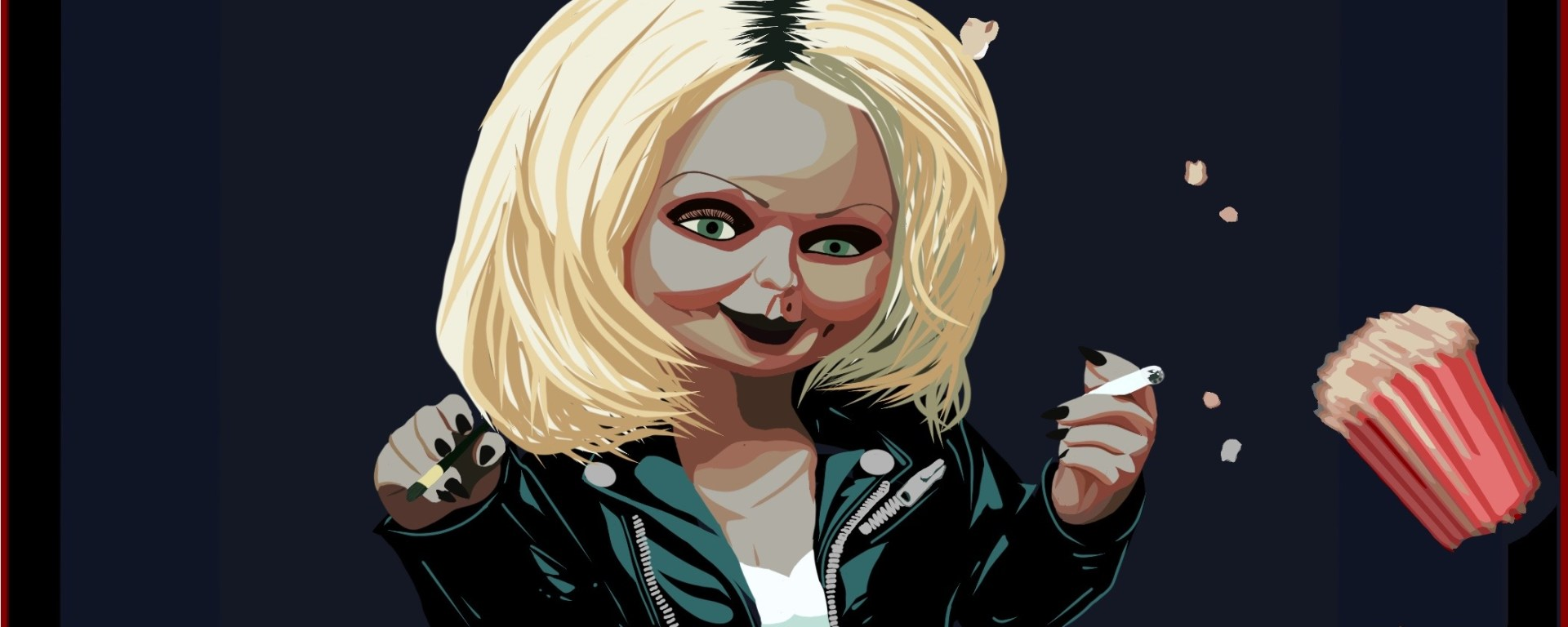 A scene from the Bride of Chucky with an illustration of a theater.