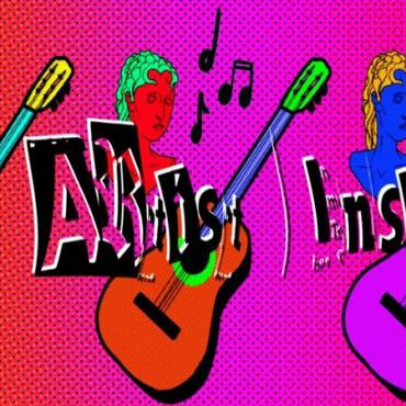 A red and pink background with three figures holding guitars. Also surrounding them is music notes.