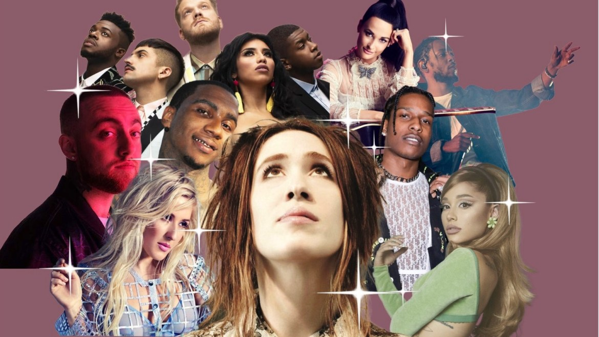 The portraits of Imogen Heap in the center looking up, surrounded by Ariana Grande, Ellie Goudling, Mac Miller, A$AP Rocky, Kendrick Lamar, Pentatonix, Kacy Musgraves and Lil B. There is a mauve colored background and accented white sparkles