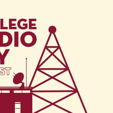 Tan background with maroon stickers of a radio station and radio tower, with the words College Radio Day Oct. 1 2021 written on it.