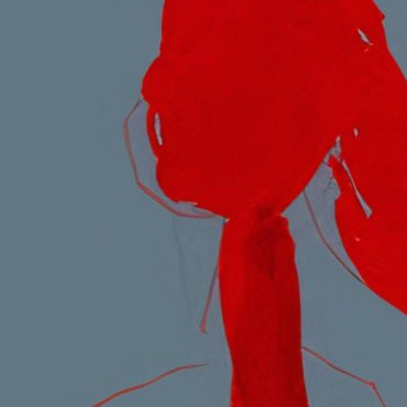 Red blotches on a plain background make the shape of a woman's face down to her shoulders.