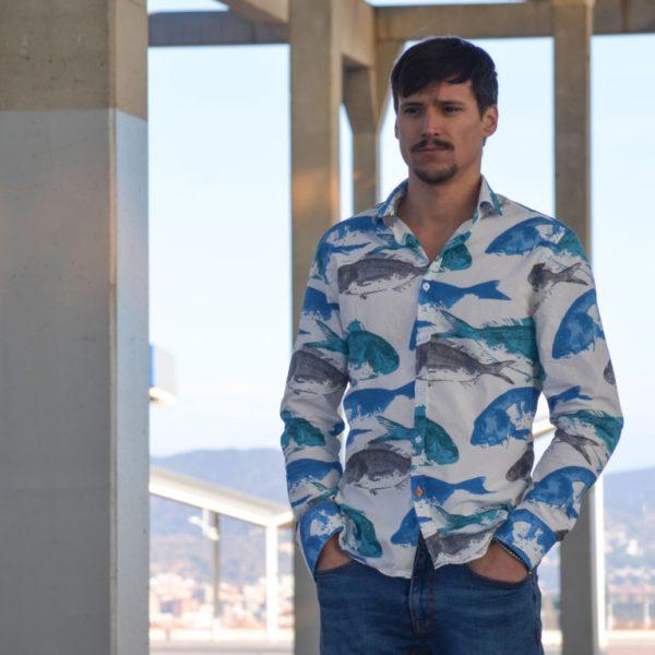 Camisa manga larga mediterráneo algodón 100%