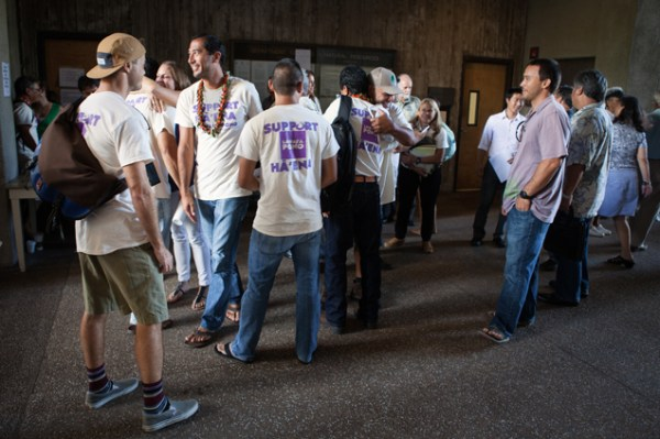 The joyous atmosphere upon hearing the Boardʻs decision. Photo by Sean Marrs.