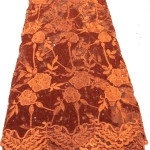 burnt orange net velvet lace