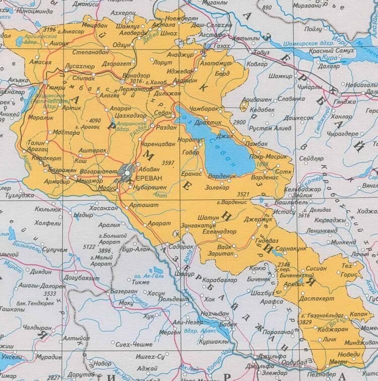 Armenian Hallinnollinen Kartta Satelliitti Kartta Armenia