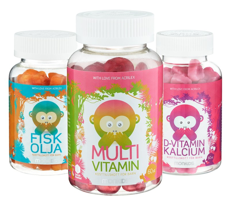 Monkids barnvitaminer förpackningsdesign