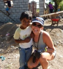 Shellie Johnson with her friend Ezekiel during a build week with The Fuller Center in Nicaragua.