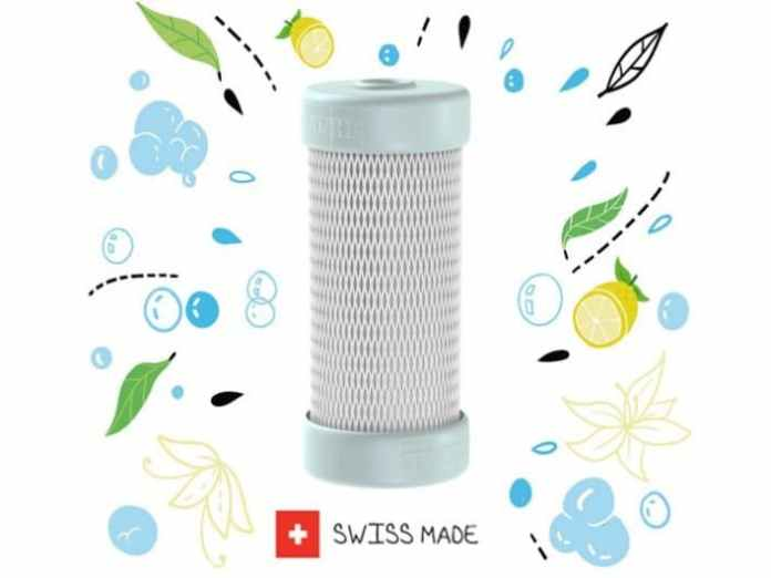 The Swiss manufacturer has built a patented filter system into an inconspicuous capsule - which appears even smaller compared to the fitting - including a bionic membrane technology.  (Photo: Franke)