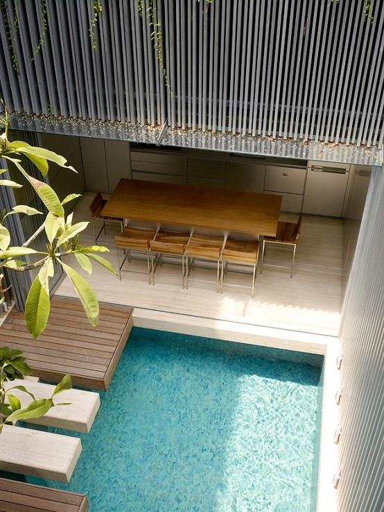 Desain rumah kecil dengan kolam renang