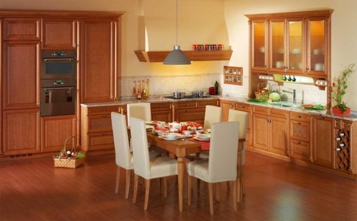 Размещение обеденной зоны в угловой кухне