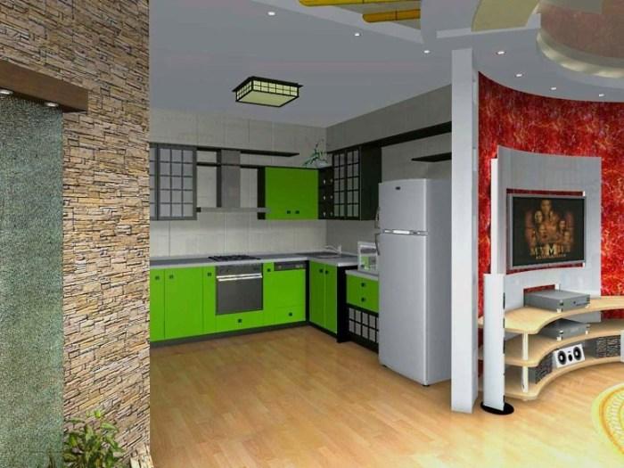 Радиусная перегородка между гостиной и кухней