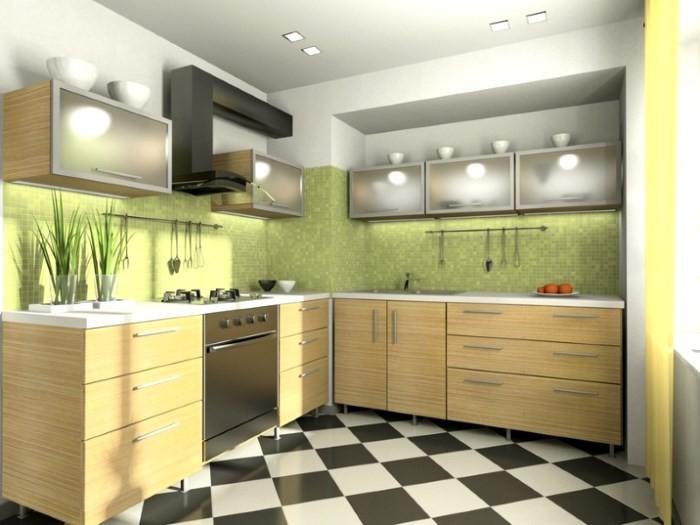Черно-белая плитка на кухне в сочетании с мебелью под дерево