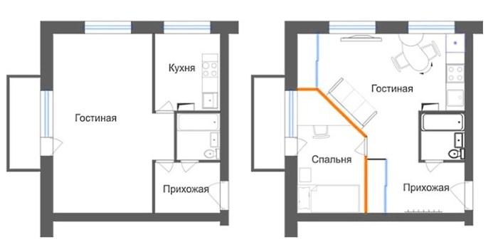 Вариант плана по переносу кухни в комнату