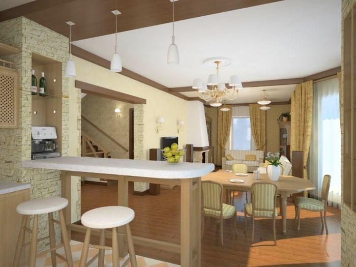 Барная стойка между кухней и столовой