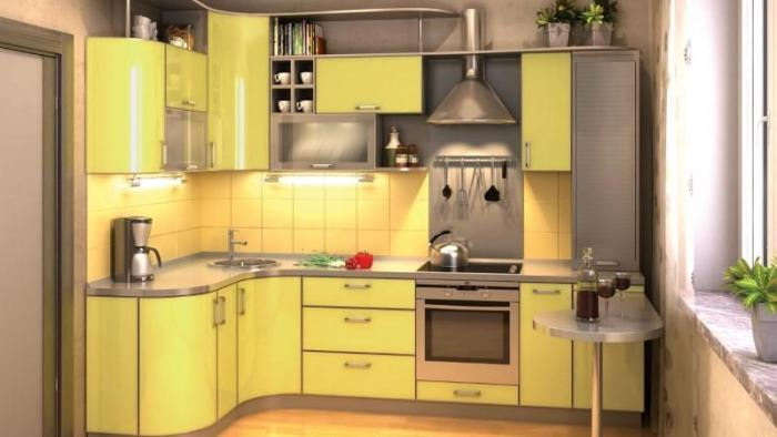 Кухня с гнутыми дверцами шкафов