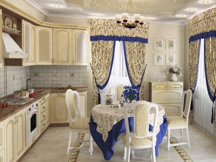 Стол и стулья на кухне в стиле прованс