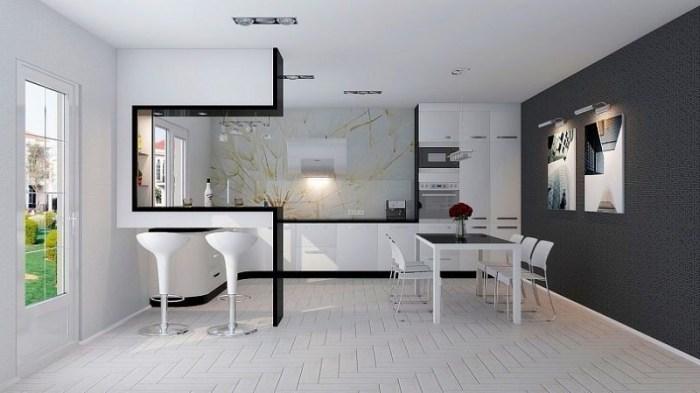 Мебель на кухне в стиле хай-тек
