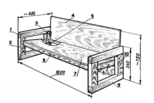 Чертеж простого дивана для кухни
