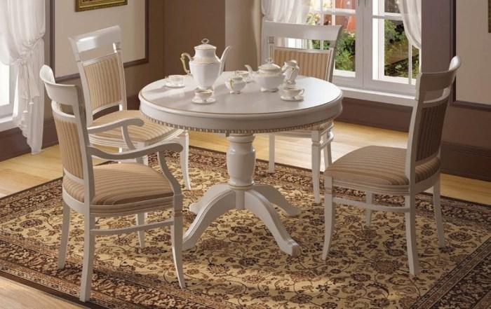Белый круглый обеденный стол