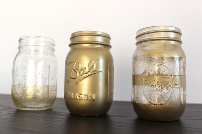 Оформление банок золотистой краской с барельефом