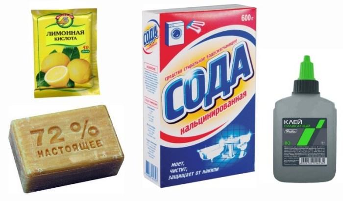 Хозяйственное мыло, силикатный клей, кальцинированная сода, лимонная кислота
