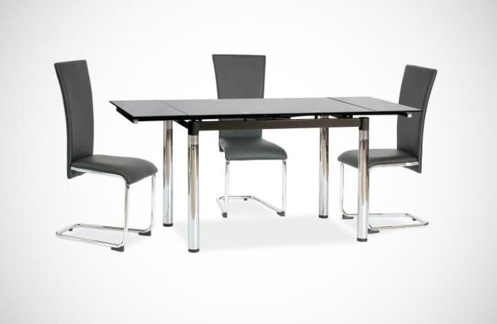 Стеклянный раздвижной стол