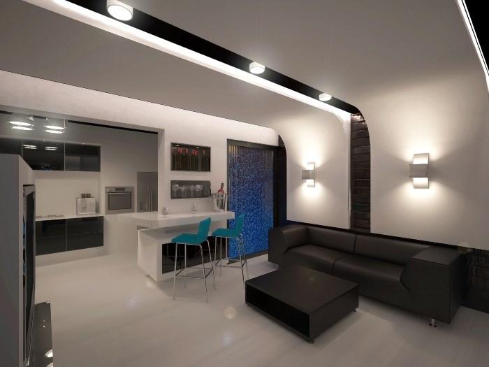 Зонирование кухни гостиной 25 кв