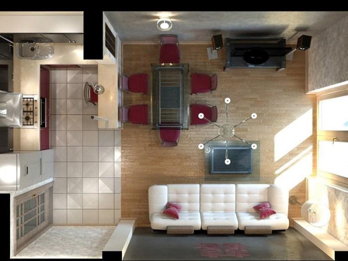 дизайн кухни гостиной 20 кв м фото с зонированием 3