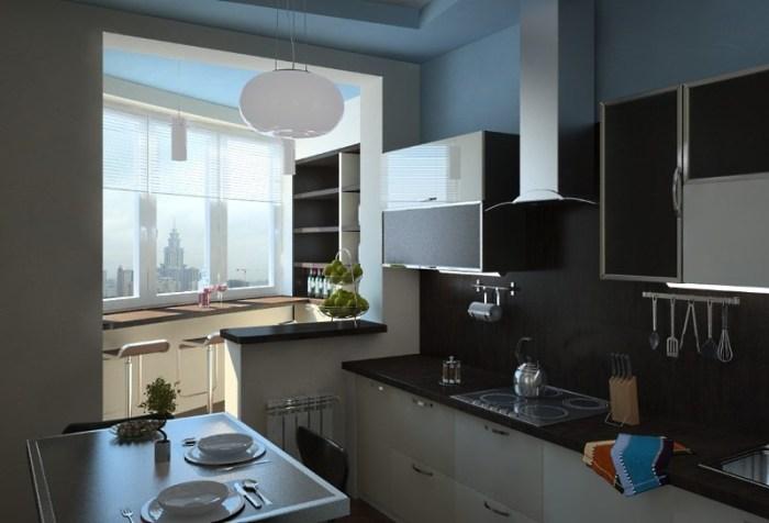 Кухня лоджия в Московской квартире