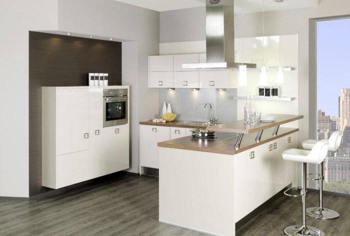 Барная стойка стол как часть угловой кухни