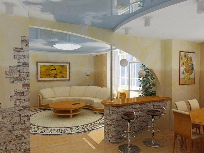 Дизайн арки между гостиной и кухней