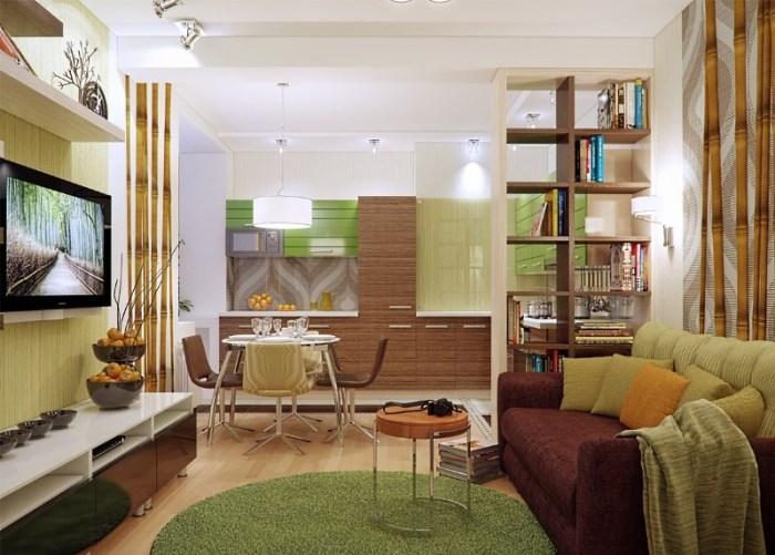 Эко и модерн в дизайне гостиной и кухни