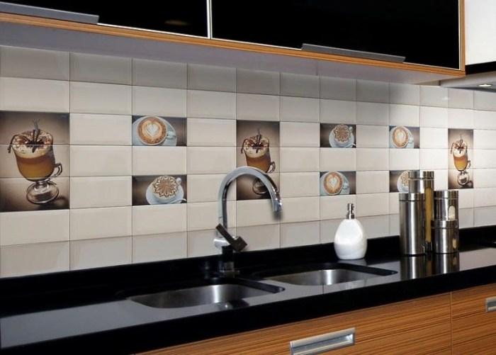 вариант дизайна кафельного фартука