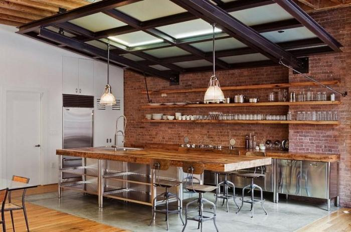 Индустриальная кухня в стиле ретро