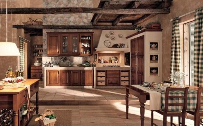 Просторная кухня в стиле шале