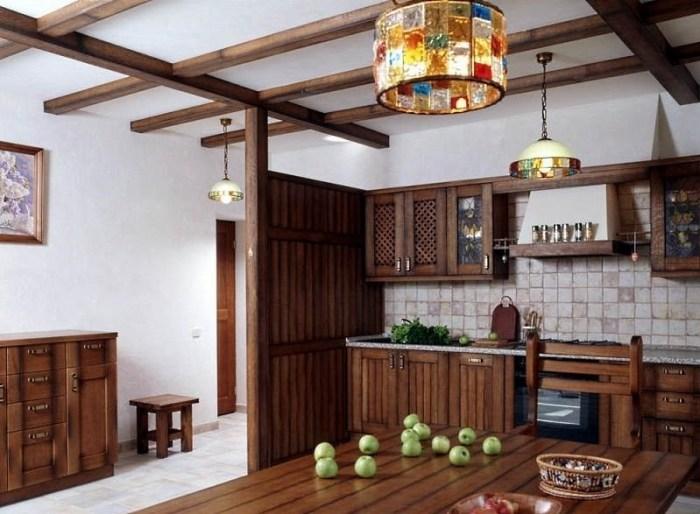 Люстры Тиффани в интерьере кухни