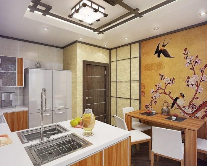 Интерьер кухни в японском этностиле