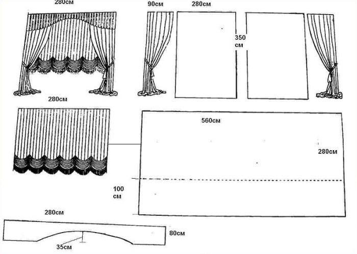 схема выкройки австрийской шторы